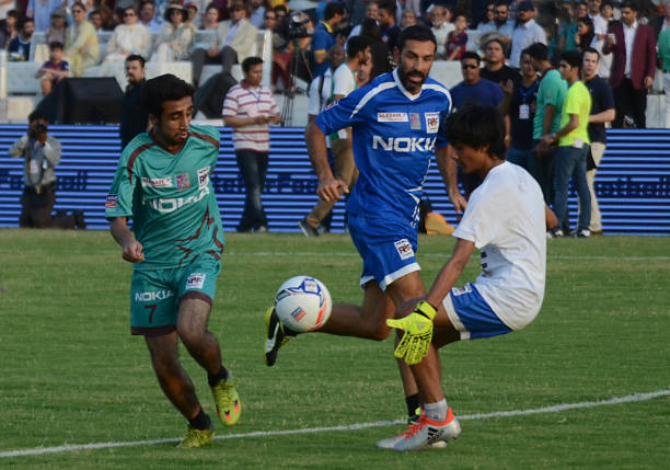 Former French players Robert Pires play with pakistan football player during friendly matchJuly 9 2017 in Lahore Eight of football`s biggest stars...