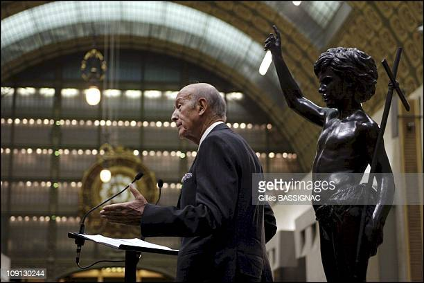"Former French President And Author Of The European Constitution Valery Giscard D'Estaing Is Awarded The Title Of ""Epee D'Academicien"". On December..."