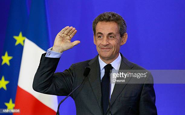 Former French President and head of the conservative party 'Les Republicains' Nicolas Sarkozy delivers a speech at his party's headquarters on...
