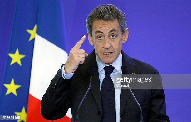 Former French president and President of France's rightwing 'Les Republicains' Nicolas Sarkozy delivers a speech at the party's headquarters on May 3...