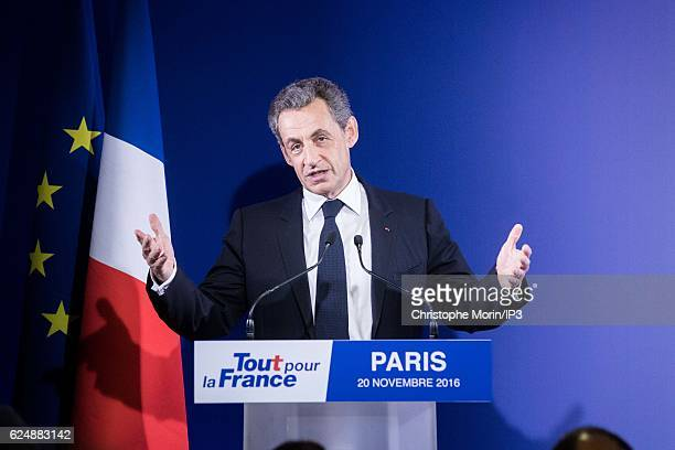 Former French President and presidential candidate hopeful Nicolas Sarkozy speaks after the first round of voting in the Republican Party's primary...