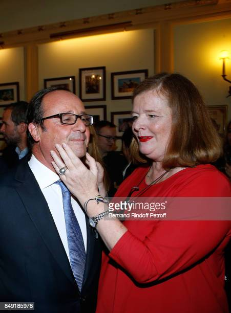 Former French President Francois Hollande and actress of the piece Anne Benoit attend 'La vraie vie' Theater Play at Theatre Edouard VII on September...