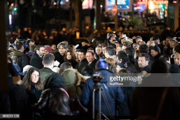 Former French president Francois Hollande and former French prime minister Manuel Valls take part in the gathering organized by the Representative...