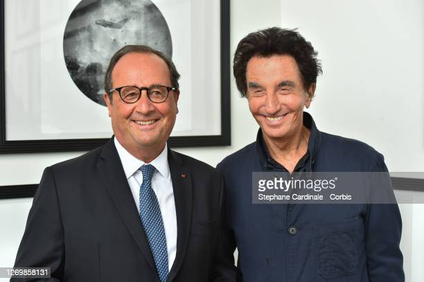 """Former French President Francois Hollande and Jack Lang attend """"Tribute To Lebanese Artists"""" at the 13th Angouleme French-Speaking Film Festival on..."""