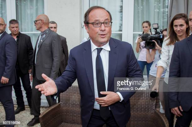 Former french president Francois Hollande attends the 10th Angouleme FrenchSpeaking Film Festival on August 22 2017 in Angouleme France