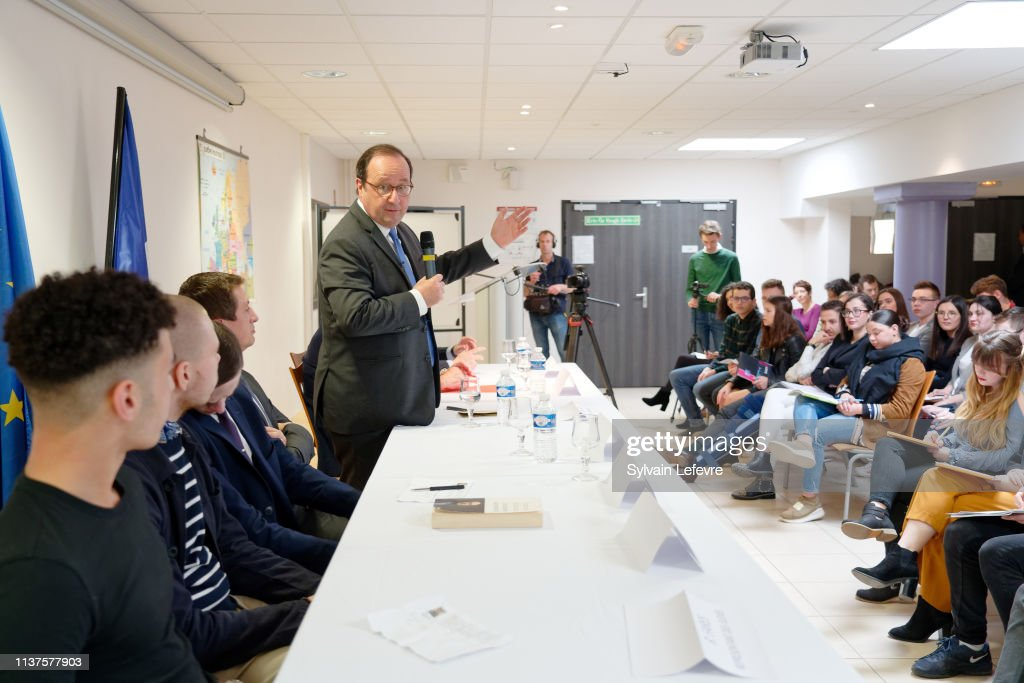 FRA: Former French President Francois Hollande Give A Conference AT Lycee Darchicourt In Henin Beaumont