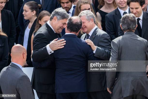 Former French President Francois Hollande greets Pierre Francois Veil and Jean Veil during the Funeral and national tribute to their mother Simone...