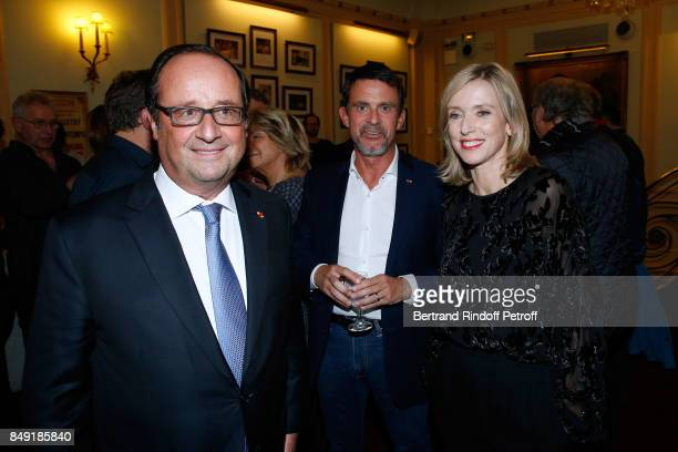 Former French President Francois Hollande politician Manuel Valls and actress of the piece Lea Drucker attend 'La vraie vie' Theater Play at Theatre...