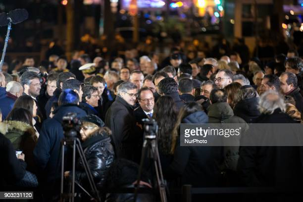 Former French president Francois Hollande takes part in the gathering organized by the Representative Council of France's Jewish Associations outside...