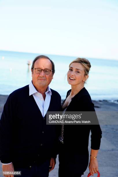Former french President Francois Hollande with his girlfriend actress Julie Gayet are photographed for Paris Match on September 2 2018 in Granville...