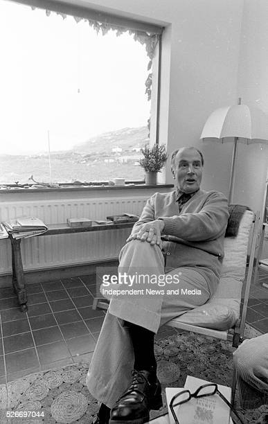 Former French President Francois Mitterand pictured on a short holiday at Bunavalla Caherdaniel County Kerry Photographer Tom Burke 12th August 1988