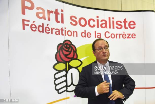Former French president François Hollande attends on September 23 2018 in Tulle the annual meeting of the French socialist party Fete de la Rose