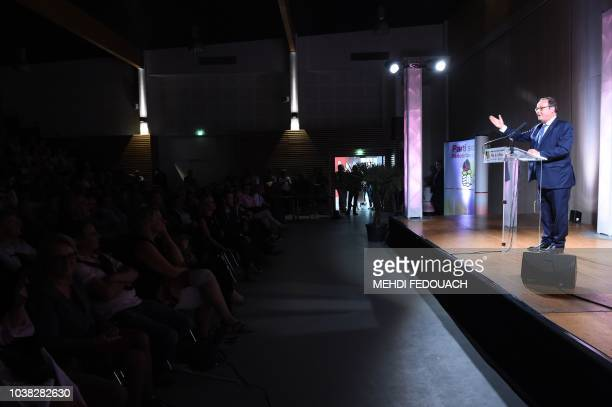 Former French president François Hollande speaks on September 23 2018 in Tulle during the annual meeting of the French socialist party Fete de la Rose