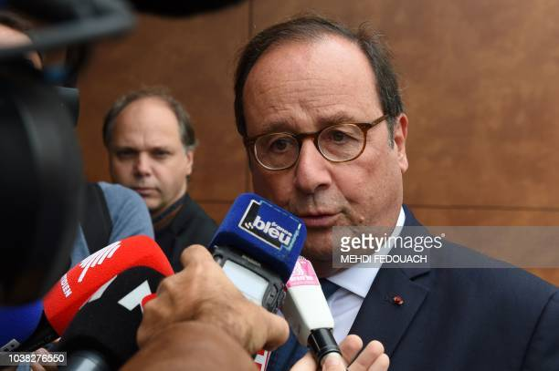Former French president François Hollande talks to journalists on September 23 2018 in Tulle during the annual meeting of the French socialist party...