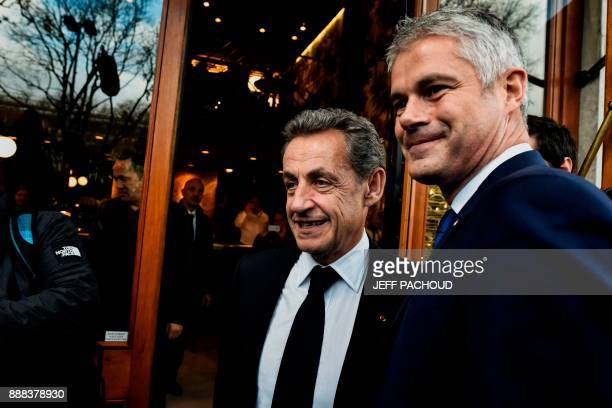 Former French president Nicolas Sarkozy and French rightwing Les Republicains party vicepresident and candidate for the party's presidency Laurent...