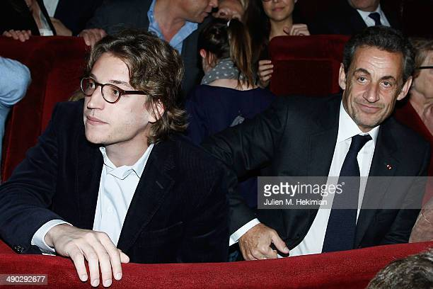Former French President Nicolas Sarkozy and his son Jean attend the Carla Bruni concert at Casino de Paris on May 13 2014 in Paris France