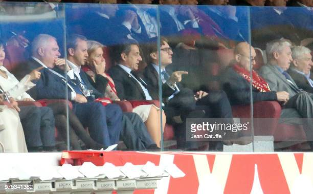 Former French President Nicolas Sarkozy and his son Jean Sarkozy during the 2018 FIFA World Cup Russia group A match between Russia and Saudi Arabia...