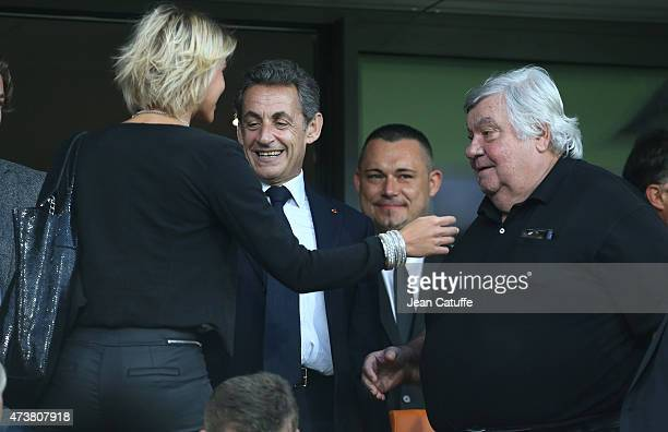 Former French President Nicolas Sarkozy and President of Montpellier Louis Nicollin attend the French Ligue 1 match between Montpellier Herault SC...