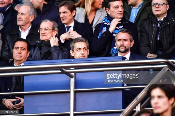 Former French president Nicolas Sarkozy and PSG director general JeanClaude Blanc during the Ligue 1 match between Paris Saint Germain and Strasbourg...