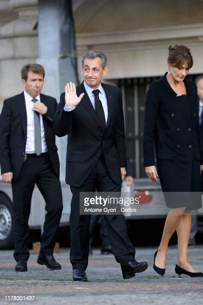 Former French President Nicolas Sarkozy and wife Carla Bruni Sarkozy attend former french President Jacques Chirac's funerals at Eglise Saint-Sulpice...
