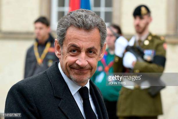Former French President Nicolas Sarkozy arrives for the funeral ceremony of Jean d'Aviano Grand Duke of Luxembourg on May 4 in Luxembourg City The...