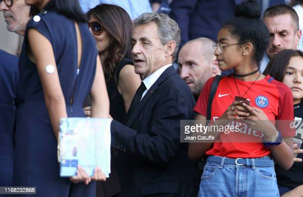 Former French President Nicolas Sarkozy attends the French Ligue 1 match between Paris Saint-Germain and RC Strasbourg at Parc des Princes stadium on...