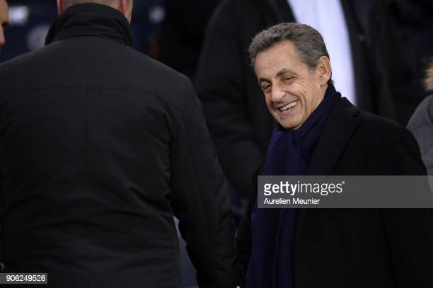Former French President Nicolas Sarkozy attends the Ligue 1 match between Paris Saint Germain and Dijon FCO at Parc des Princes on January 17 2018 in...