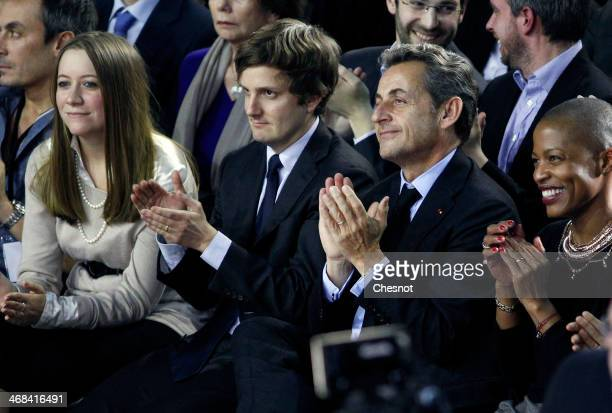 Former French President Nicolas Sarkozy attends to a campaign meeting with French rightwing UMP party mayoral candidate Nathalie KosciuskoMorizet on...