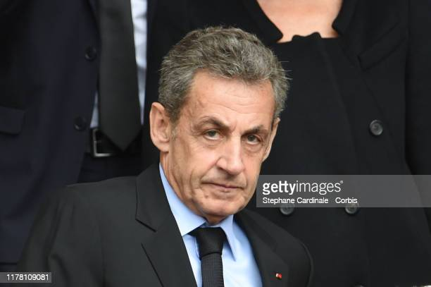 Former French President Nicolas Sarkozy leaves the cathedral after a church service for former French President Jacques Chirac at Eglise...