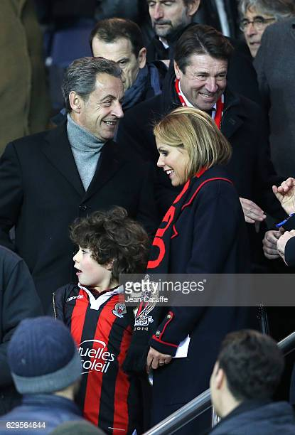 Former French President Nicolas Sarkozy mayor of Nice Christian Estrosi and his wife Laura Tenoudji attend the French Ligue 1 match between Paris...