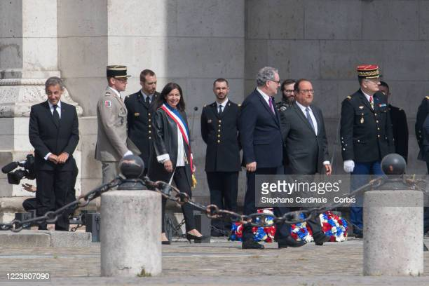 Former French President Nicolas Sarkozy Paris Mayor Anne Hidalgo President of the French National Assembly Richard Ferrand and Former French...
