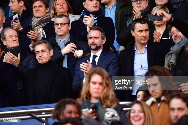 Former French president Nicolas Sarkozy PSG director general JeanClaude Blanc and Strasbourg president Marc Keller during the Ligue 1 match between...