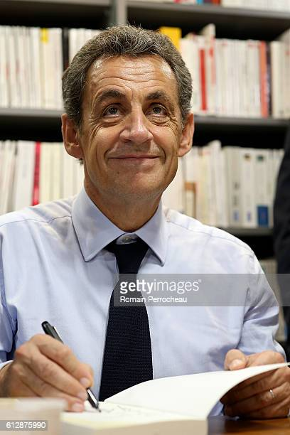 "Former French President Nicolas Sarkozy Signs copies of His Book ""Tout pour la France"" at Librairie Privat on October 5, 2016 in Toulouse, France...."