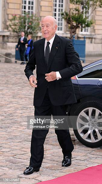 Former French president Valery Giscard D'Estaing Attends 'Master Art' Exhibition Opening at Palais Imperial de Compiegne on September 22 2011 in...