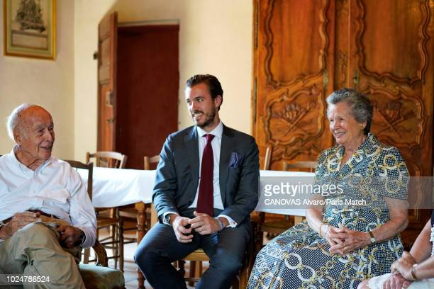 Former French President Valery Giscard d'Estaing his wife AnneAymone Giscard d'Estaing and grandson Frederic Giscard d'Estaing are photographed for...