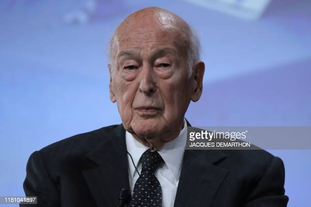 Former French President Valery Giscard d'Estaing looks on at the conference of the fiftieth anniversary of the election of Georges Pompidou to the...