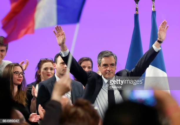Former French prime minister and French presidential election candidate for the rightwing 'Les Republicains' political party Francois Fillon...