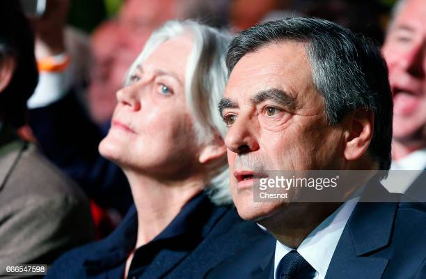 Former French Prime Minister and French presidential elections candidate for the rightwing Les Republicains political party Francois Fillon sits...