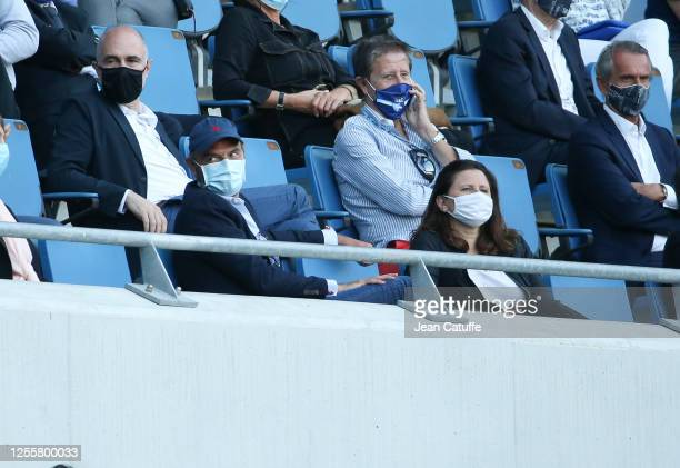 Former French Prime Minister and Mayor of Le Havre Edouard Philippe French Minister of Sports Roxana Maracineanu both wearing masks attend the...