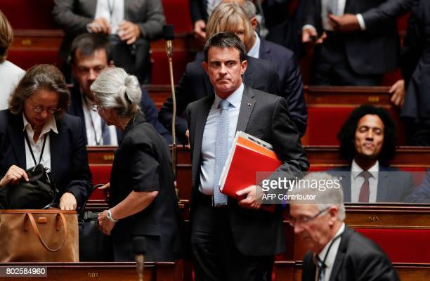 Former French prime minister and member of Parliament Manuel Valls attends a session on June 28 2017 at the National Assembly in Paris one day after...