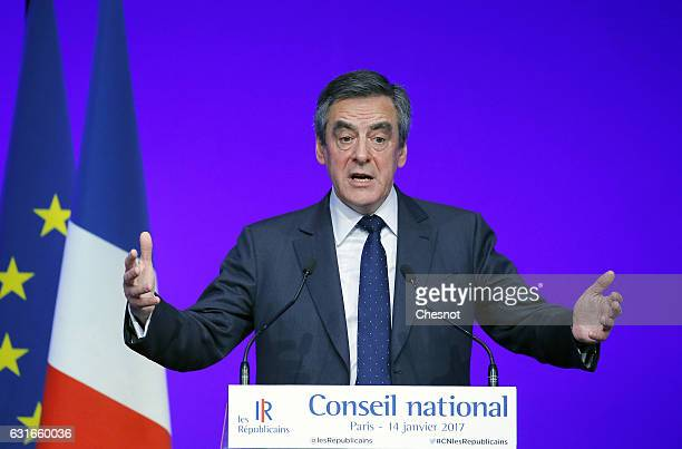 Former French prime minister and member of rightwing political party 'Les Republicains' Francois Fillon delivers a speech during the national council...