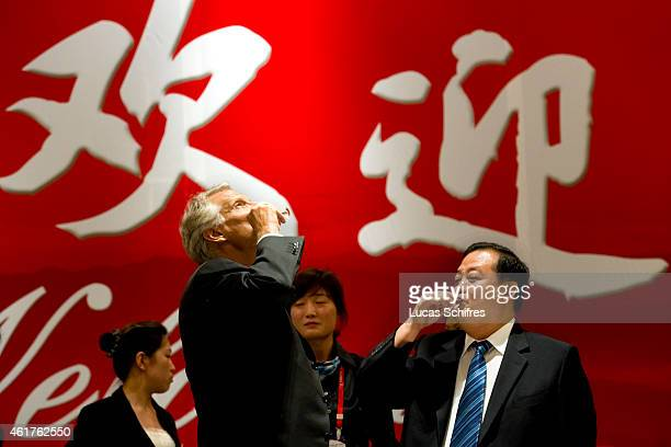PROVINCE CHINA EXCLUSIVE September 02 Former French Prime Minister Dominique de Villepin drinks rice alcohol with Zhang Maocai Secretary of the...