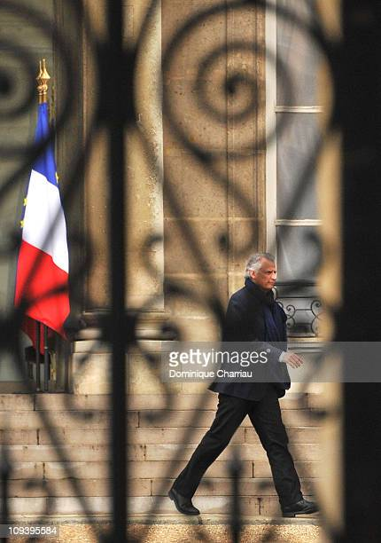 Former French Prime Minister Dominique de Villepin leaves Elysee Palace after meeting with President Nicolas Sarkozy on February 24 2011 in Paris...