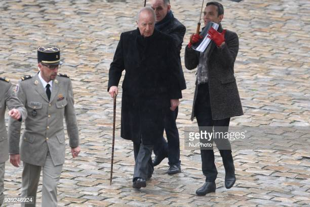 Former French Prime Minister Edouard Balladur arrives at a national ceremony for LieutenantColonel Arnaud Beltrame on March 28 2018 at the Hotel des...