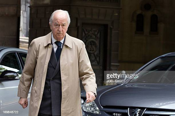 Former French Prime Minister Edouard Balladur arrives to attend on June 3 2013 at the Montmartre cemetery in Paris the funeral of French University...