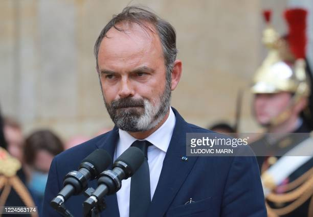 Former French Prime Minister Edouard Philippe looks on during the handover ceremony in the courtyard of the Matignon Hotel in Paris on July 3 2020