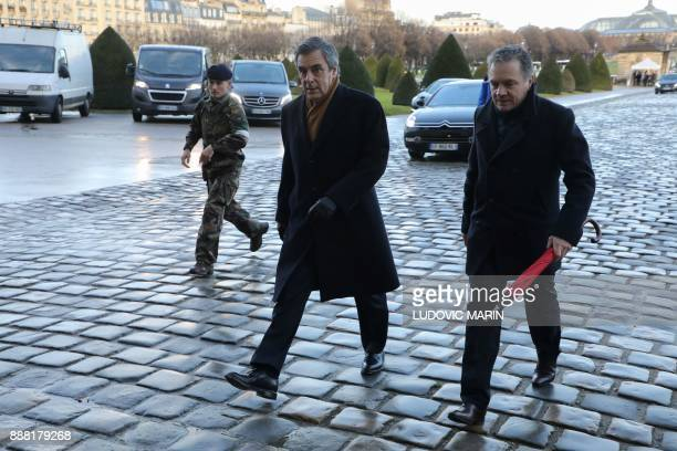 Former French Prime Minister Francois Fillon arrives for the National Tribute ceremony for late member of the Academie Francaise Jean d'Ormesson at...