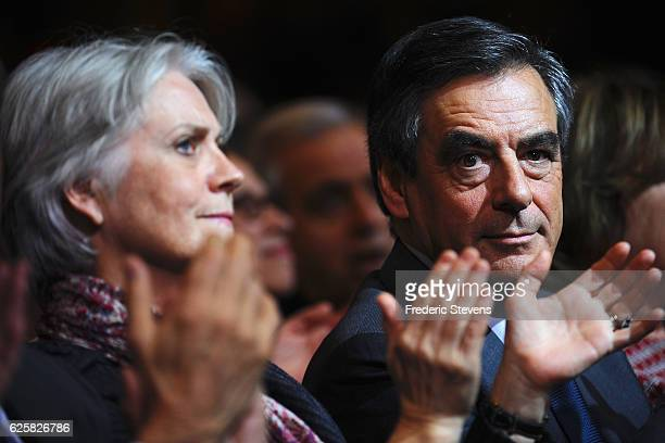 Former French Prime Minister Francois Fillon candidate of the party Les Republicains with his wife Penelope Fillon during his meeting at the...