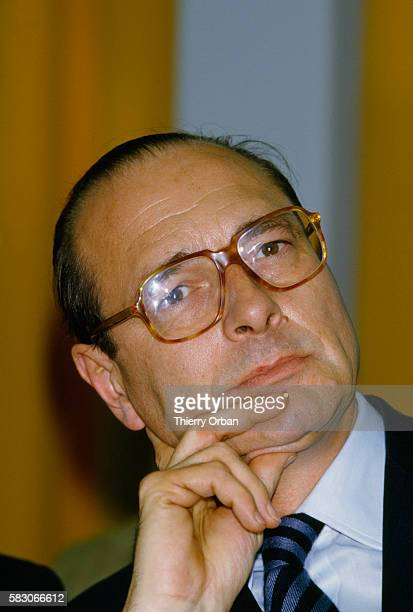 Former French Prime Minister Jacques Chirac during a visit to Maubeuge's Town Hall in the north of France after the cantonal elections Chirac was...