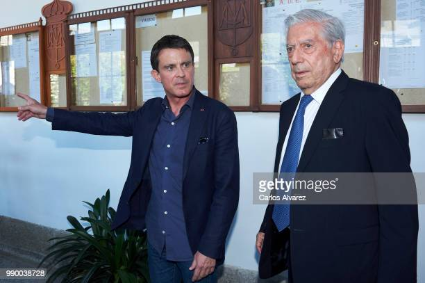 Former French Prime Minister Manuel Valls and and Nobel prize winner for literature Mario Vargas Llosa attend El Escorial Summer Courses 2018 at Real...